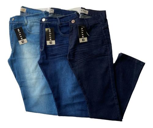 Imagem 1 de 6 de Kit 3 Calça Jeans Masculina Slim Com Lycra Elastano Original