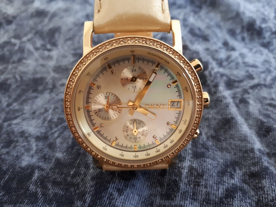 Relógio Original Donna Karan Dourado Pulseira De Couro