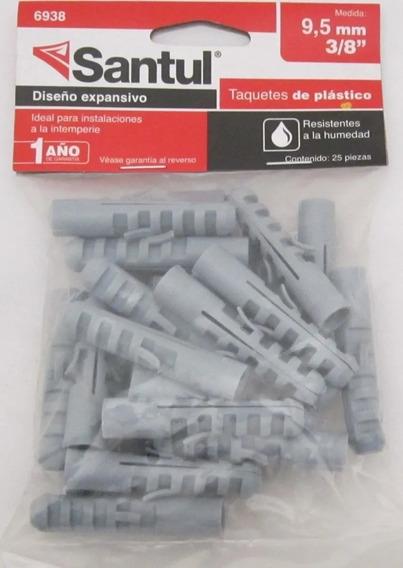 Taquete De Plastico Santul 3/8 6938 Bolsa Con 25 Pzs