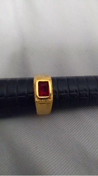 Anel De Formatura Pedra Vermelha Numero 15-16-17 Folheado18k