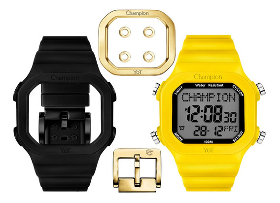 Relógio Champion Digital Yot Troca Pulseira Amarelo Preto