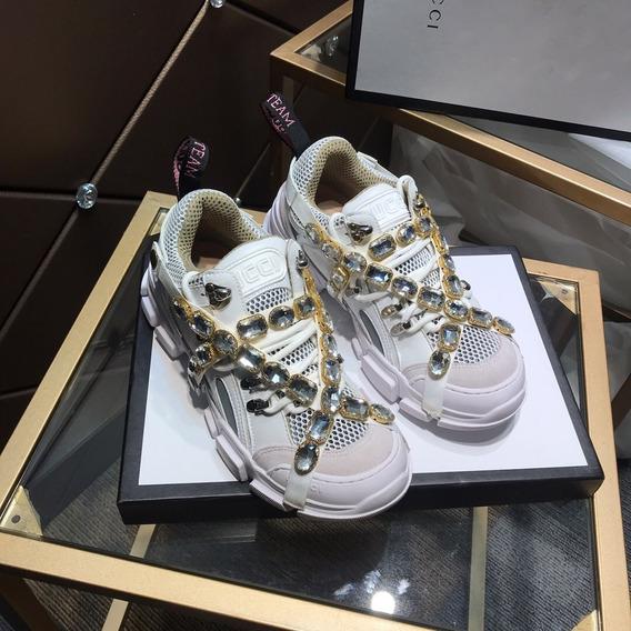 Tenis Gucci Flashtrek Cristales Blanco Piel Alta Calidad