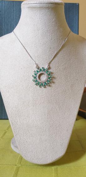 Colar Prata 925 Pingente Mandala Zircônias Verde Rosa Azul