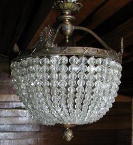 Lustre De Bronze E Cristal Antigo Para 4 Lampadas