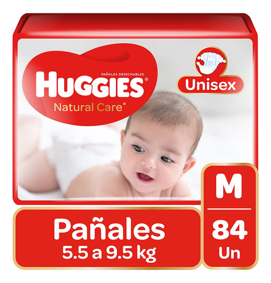 Pañales Huggies Natural Care Unisex 84 Unidades Talla M