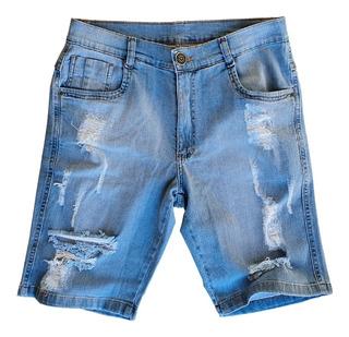 Bermuda Masculina Jeans Rasgadinha Destroyed C/ Elastano S07