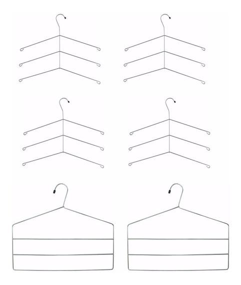 4 Cabides Triplos Para Camisa 2 Cabides Triplos De Calças