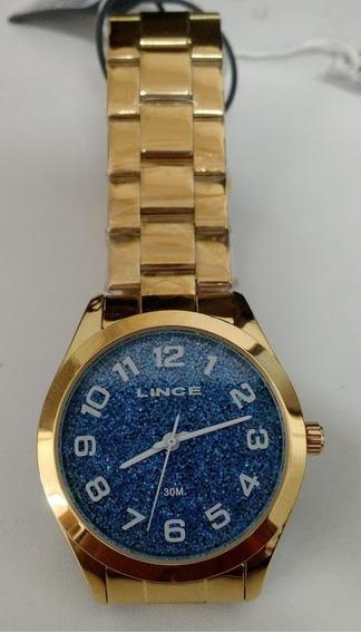 Relogio Lince Feminino Dourado Lrg4373l Lindo Azul C/ Brilho