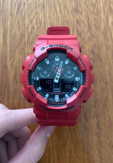 Relógio G-shock Ga-100b-4adr Original - Vermelho