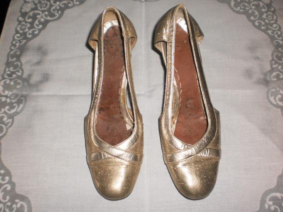 *** Zapatos Dorados S/plantilla - Suela 23,5 Cm (sd 12)
