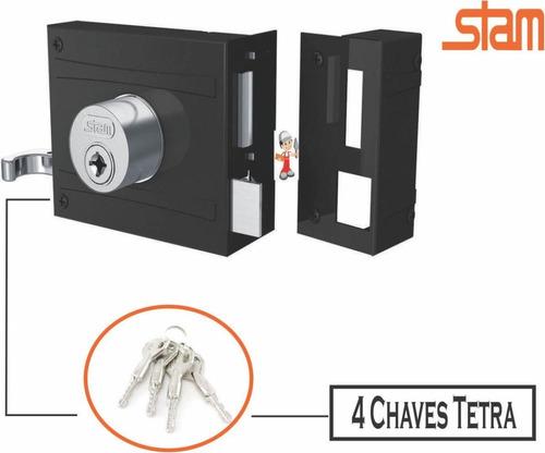 Fechadura Externa Sobrepor Portão 4 Chaves Tetra Stam 1701