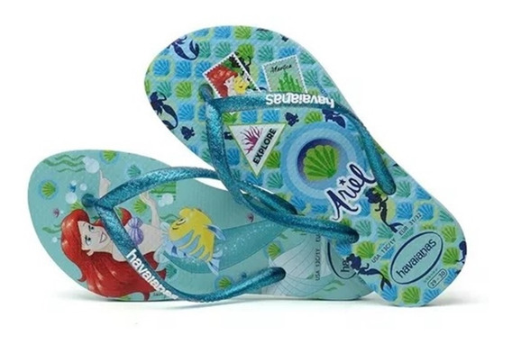 Chinelo Infantil Kids Havaianas Slim Princess Ariel