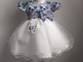 Vestido Bebê Azul Marinho Princesa Realeza Luxo Festa