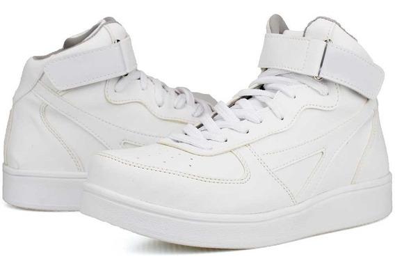 Tenis Masculino Coturno Bota Casual Branco E Preto Cadarço