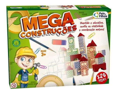 Jogo Pedagógico Mdf Mega Construções 120 Peças 7361
