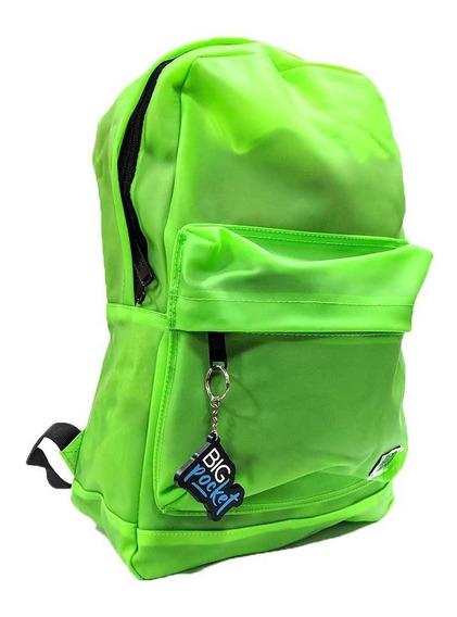 Mochila Escolar Big Pocket 17p Goma Pvc Ppr Original Verde
