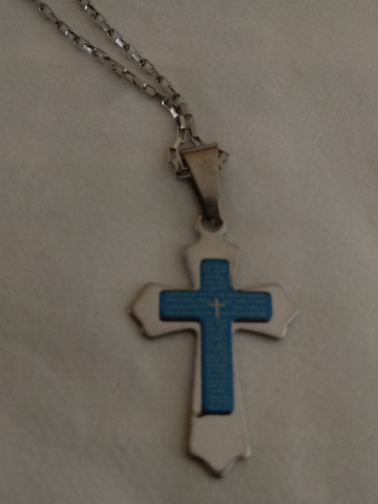 Corrente Pai Nosso Pingente Crucifixo Escritura Aço Frete Gr