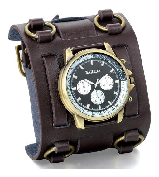 Relógio Bracelete Masculino Couro 3 Fivelas Moto Rock Md 010