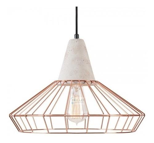 Luminaria Colgante Jaula Cobre Y Cemento Grande Vintage