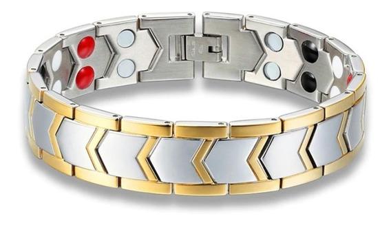 Bracelete Pulseira Magnética Bioquantico Prata E Dourada