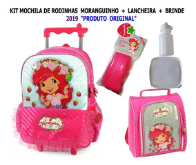 Kit Mochila Rodinhas Moranguinho + Lancheira