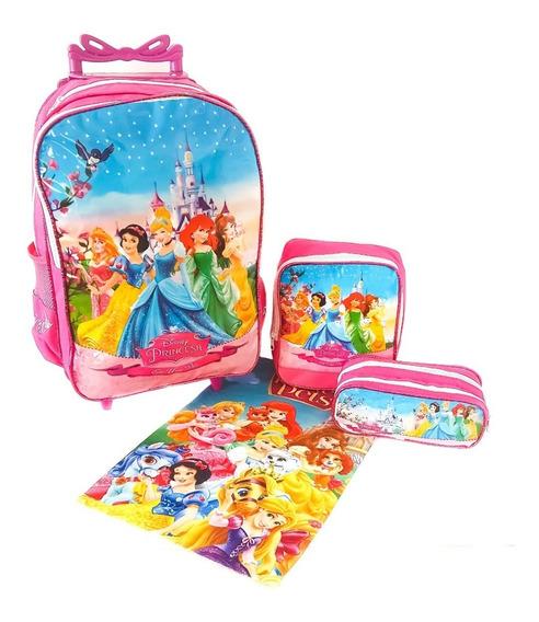 Mochila Kit Infantil Com Rodas Feminino Princesas + Brinde