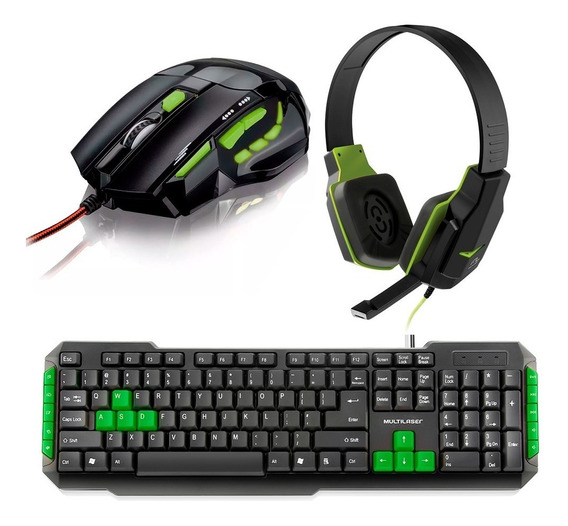 Kit Gamer Teclado Multimídia + Mouse 2400dpi + Fone Headset
