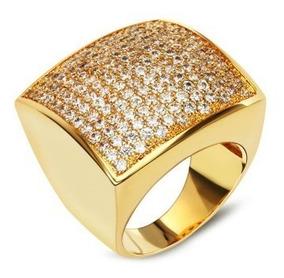 Anel Feminino Grande Festa Zirconia Luxo Dourado Quadrado