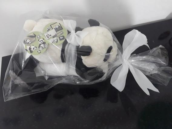 Ursinho Panda 30 Cm Com 1 Manta Soft Bebê Infantil Cobertor