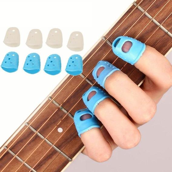 Kit 4 Protetores Dedos Silicone Tocar Violão Guitarra Baixo