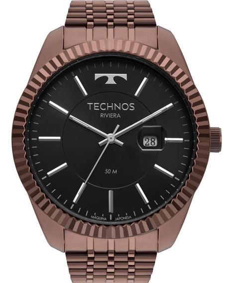 Relógio Masculino Technos 2115msw/4p Analógico Pulseira Na Cor Marrom Grande Redondo Original Com Garantia E Nfe