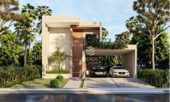 Casa Duplex Com 4 Quartos À Venda, 160 M², Condomínio Fechado, Financia - Centro - Aquiraz/ce - Ca0317