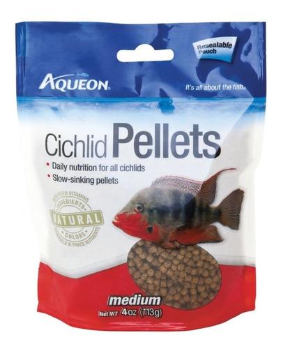 Alimento Peces Ciclidos Medium Pellets Aqueon 128 Grs X 2 Un
