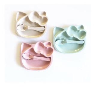 Set Plato Cubiertos Infantil Niños Bebe Kitty Biodegradable