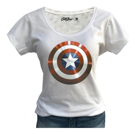 Camiseta Baby Look Feminina T-shirt Capitão América Promoção