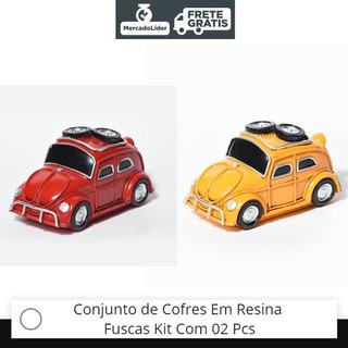Fusca Miniatura Cofre Em Resina Kit Com 02 Pcs