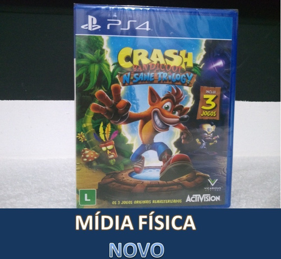 Crash Bandicoot N Sane Trilogy - Ps4 - Novo - Mídia Física