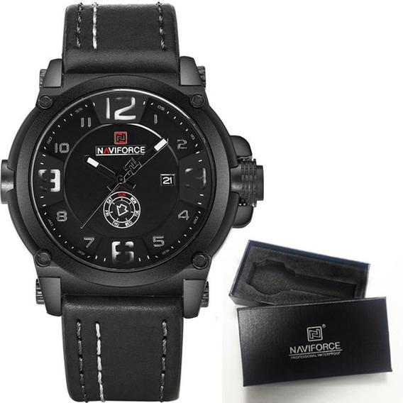 Relógio Masculino Original Naviforce Nf9099 Couro Com Caixa