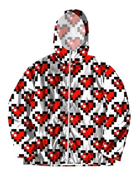 Jaqueta Corta Vento Forrada Com Bolsos Coração 8 Bits Red