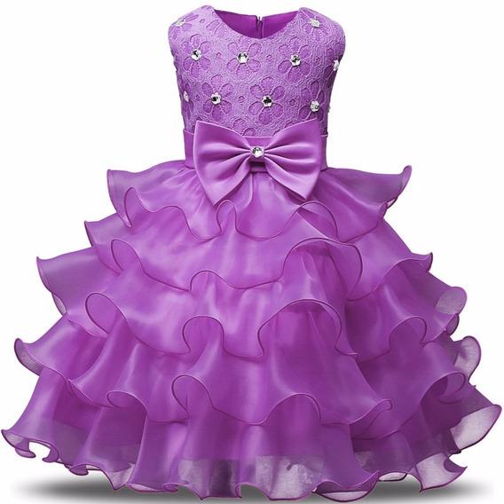 Vestido Festa Infantil Tutu Babado Renda Casamento Dama Laço