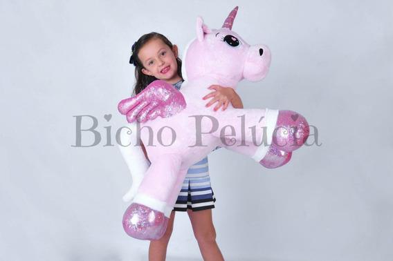 Unicórnio Pelúcia Gigante Bebê Fofinho Rosa 88cm