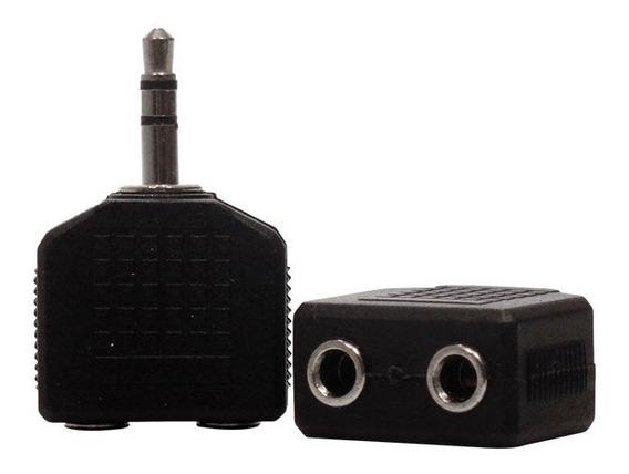 02 Adaptador Duplicador P2 Estéreo Caixa Som Tv Fone