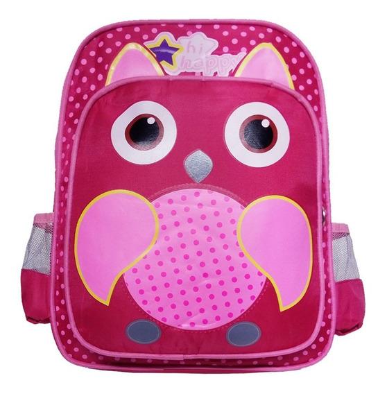 Mochila Escolar Coruja Rosa Infantil Hi Happy Pequena