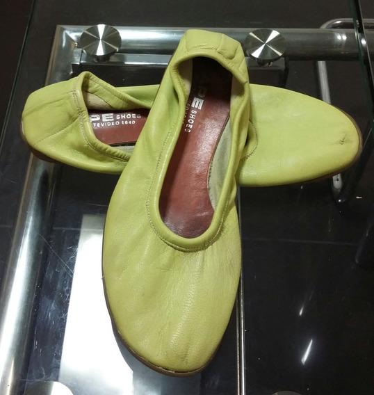 Balerinas Verde Limón Cuero Eco Ape Shoes 38