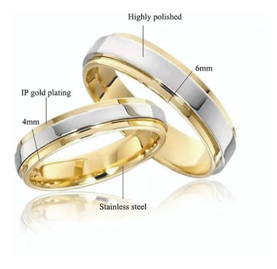Set 2 Anillos Boda Matrimonio Oro 18k Y Acero Inoxidable