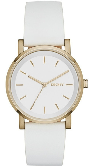 Relógio Luxo Feminino Dkny Donna Karan Couro Branco Ny2340