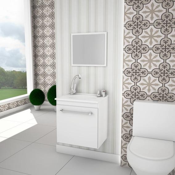 Balcão Gabinete Armário P/banheiro C/pia+espelheira Flox *