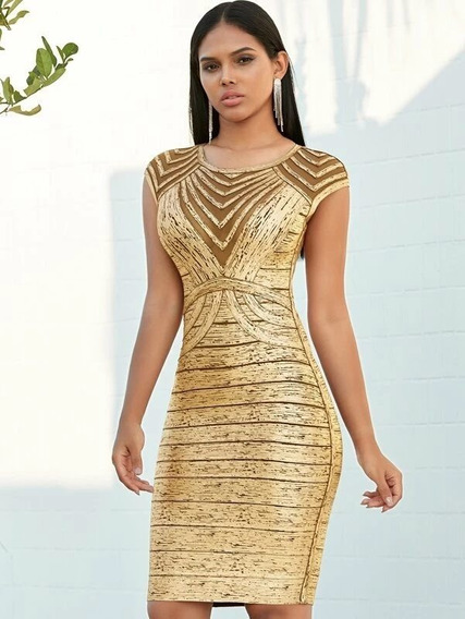 Vestido Dorado Ajustado De Fiesta