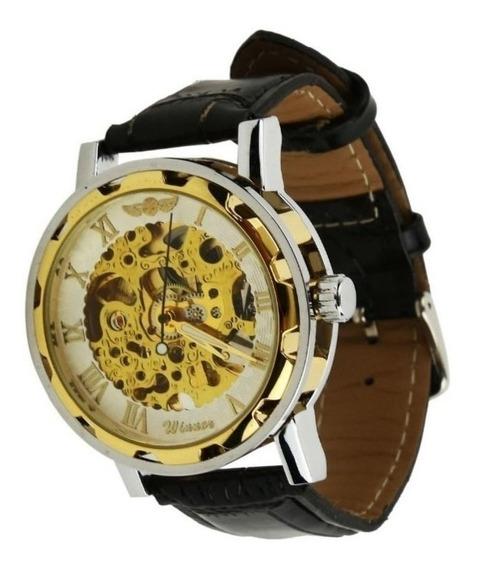 Relógio Masculino Automático Barato Pulseira De Couro C.105