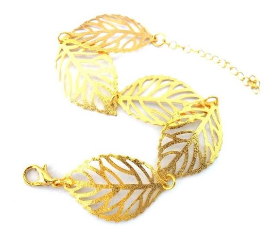 Pulseira Feminina Folhas Foscas B-2272 Banhado A Ouro 18k